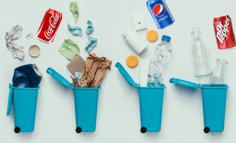 recycling items with soda bottles