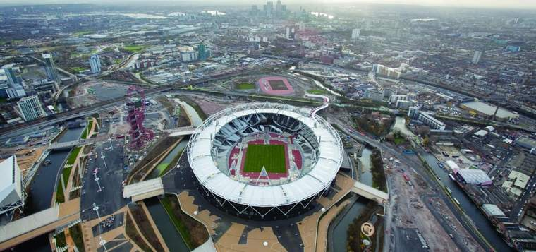 Aerial view of London 2012 Olympic stadium