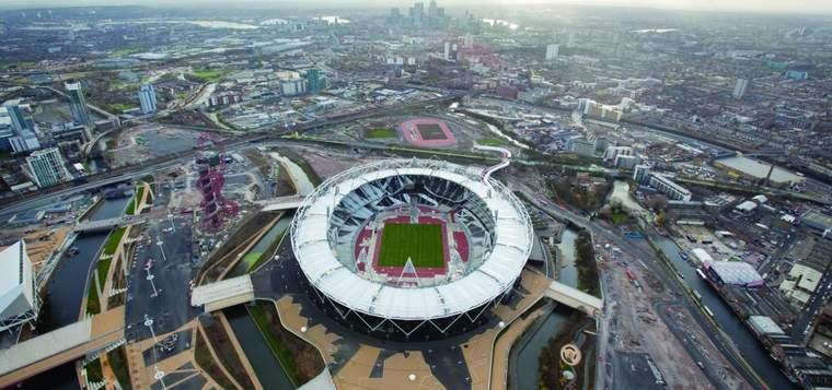 Aerial view of London 2012 Olympic stadium