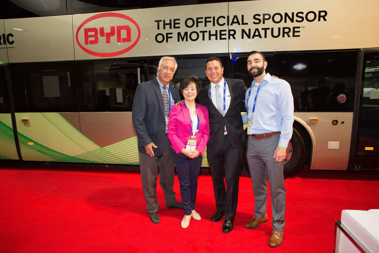 Macy Neshati, Senior VP Heavy Industries, & Stella Li, SVP of BYD at the ACTExpo