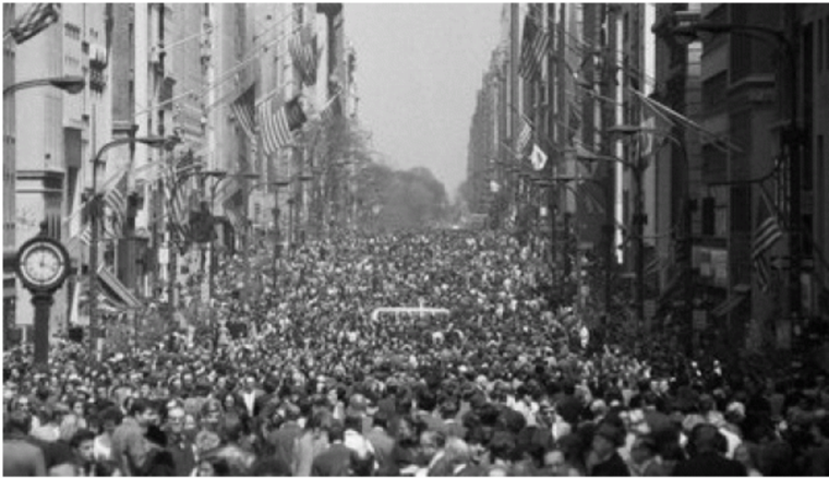 The first Earth Day in April of 1970, as celebrated in New York City.