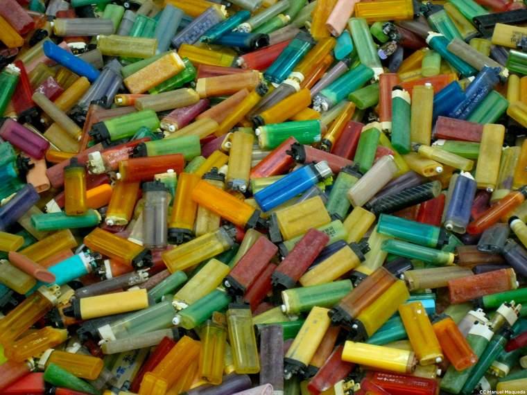 lighters on a beach