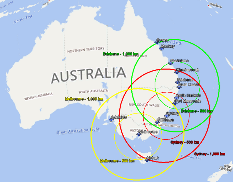 Possible short-haul electric aircraft ranges in Australia