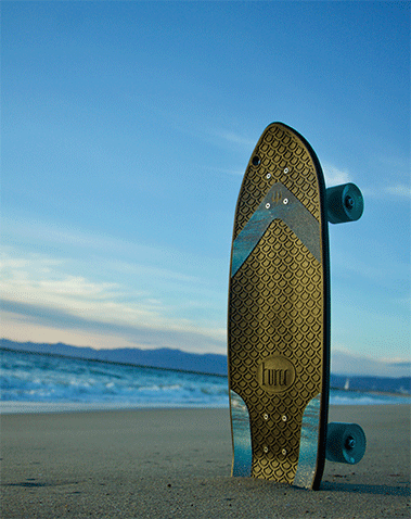 A skateboard made out of used fishing nets
