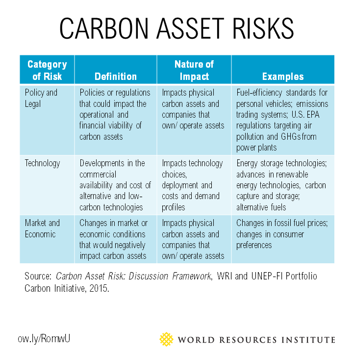 Carbon asset risk table