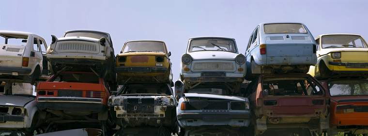 cars in wrecking yard