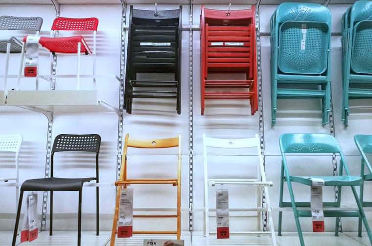rows of ikea chairs