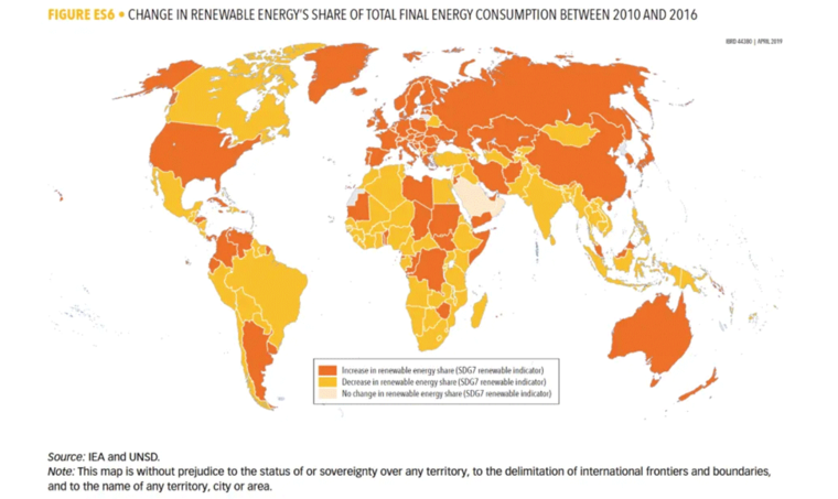 change in renewable energy map