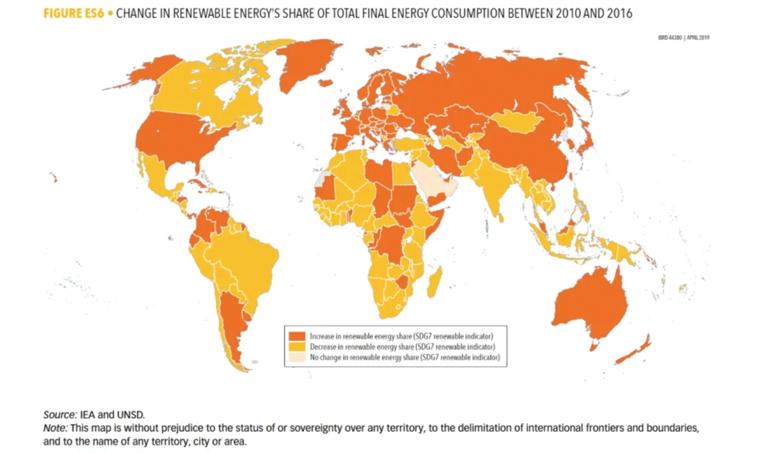 change in renewable energy map