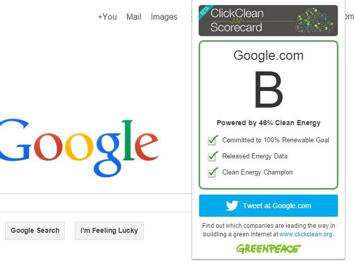 The new Greenpeace browser extension displays its grades for the websites you browse.