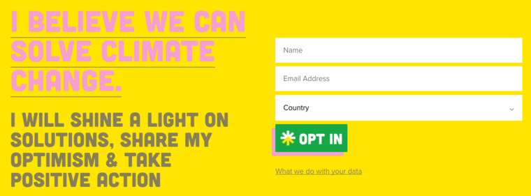 Opt-in page for the Climate Optimism campaign