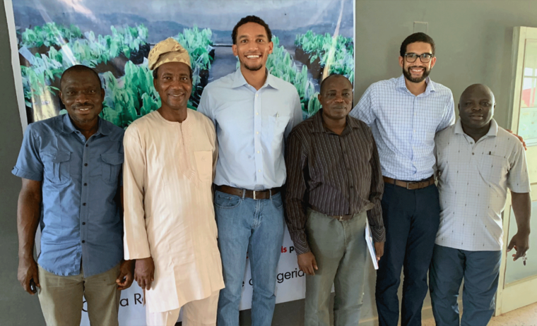 Bissy co-founder Zach En'Wezoah with the Cocoa Research Institute of Nigeria.