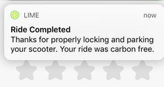 Screen shot from an e-scooter user's smart phone at the end of a ride.