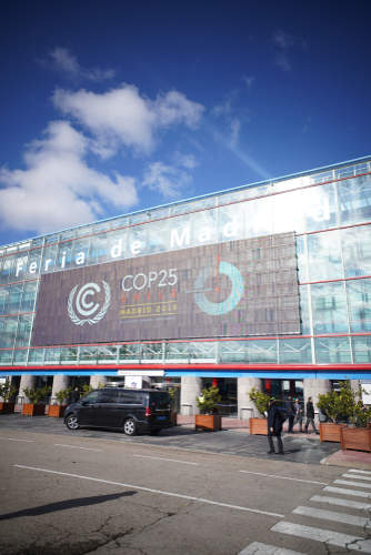 Entrance at a COP25 venue in Madrid, Spain