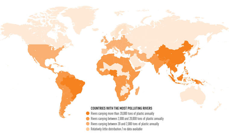 Map of tons of plastic reaching the world's oceans annually via river