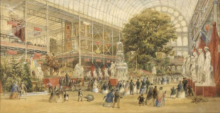 Painting of Queen Victoria opening the Crystal Palace in London