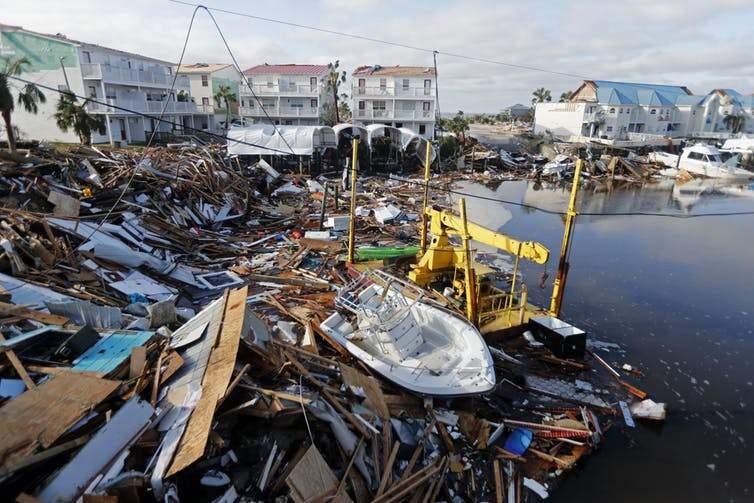 Debris on the shore of Mexico Beach, Florida