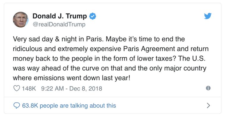 Trump tweet on the Paris Agreement