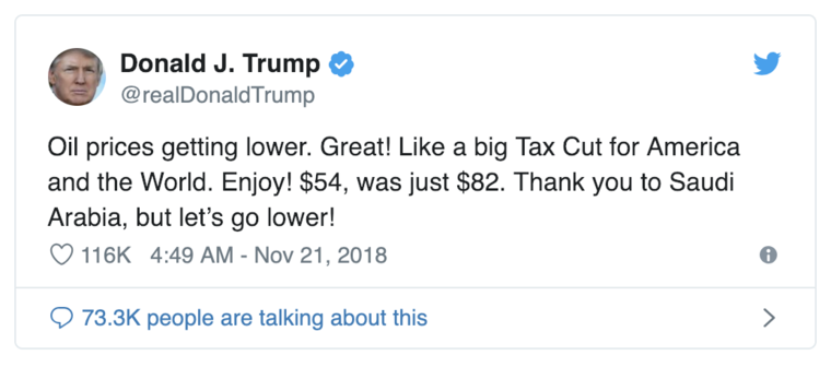 Donald J. Trump oil tweet