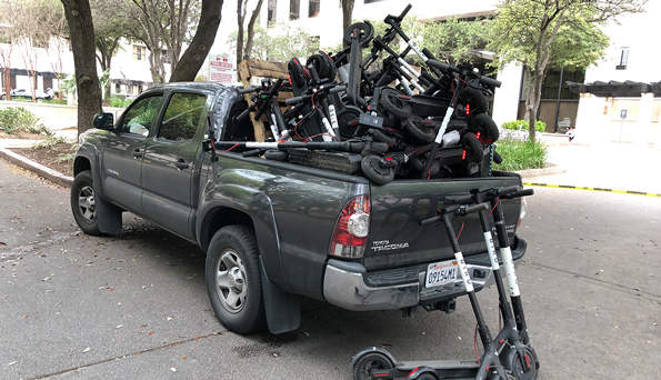 scooters in a truck