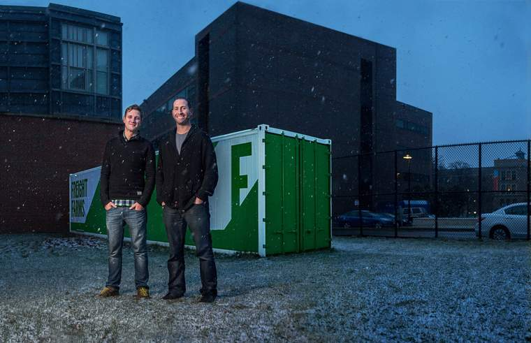 Freight Farms co-founders Freidman (left) and McNamara, outside a container farm designed to operate in variable weather conditions.