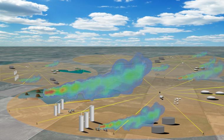Gas field, laser image, LongPath Technologies