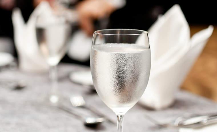 Water glass in fancy restaurant