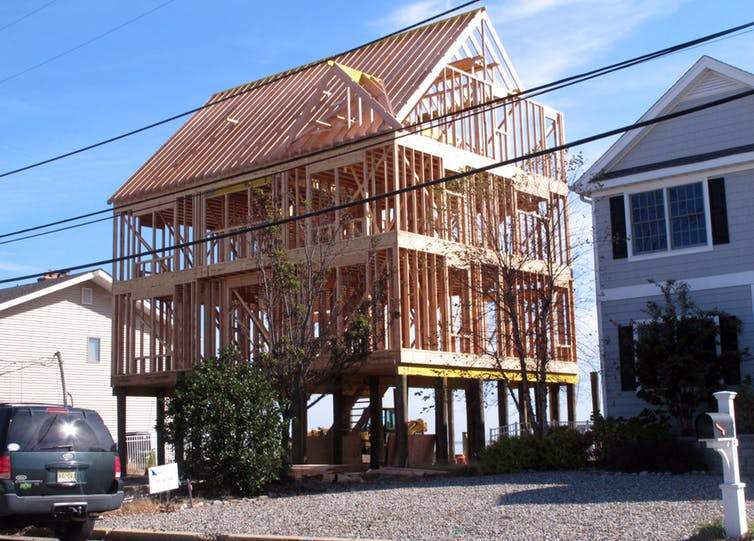 An elevated house being rebuilt in Toms River, N.J