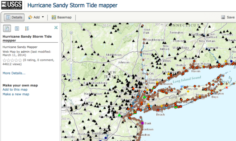 Map of Hurricane Sandy, 2012