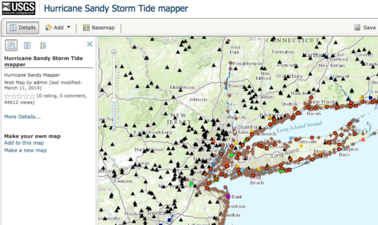 Map of Hurricane Sandy, 2012