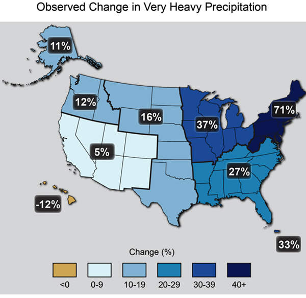 Map of change in heavy precipitation