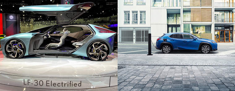 Left is the LF-30 Lexus Concept car displayed in Los Angeles; right is the Lexus UX300e battery electric crossoverLeft is the LF-30 Lexus Concept car displayed in Los Angeles; right is the Lexus UX300e battery electric crossover