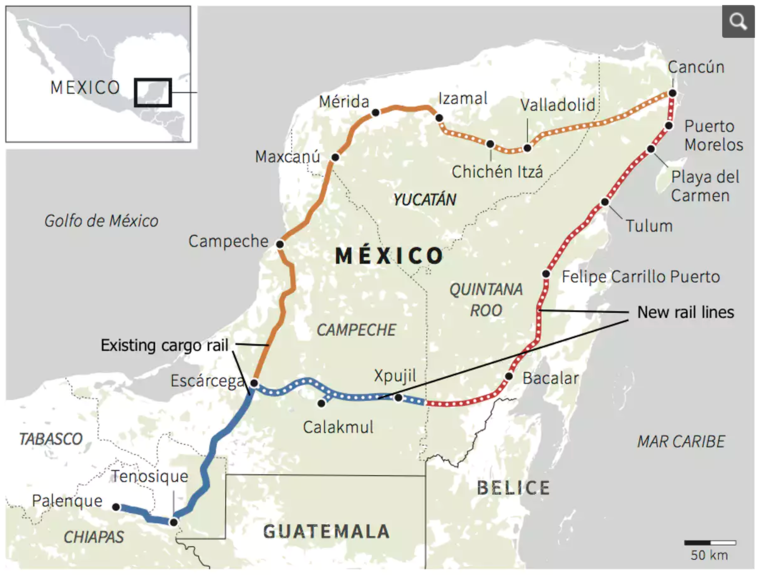 The proposed Maya Train
