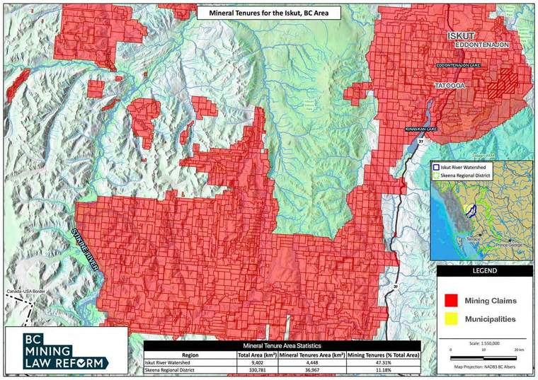 Map of mining tenures that dominate the Iskut River area of British Columbia