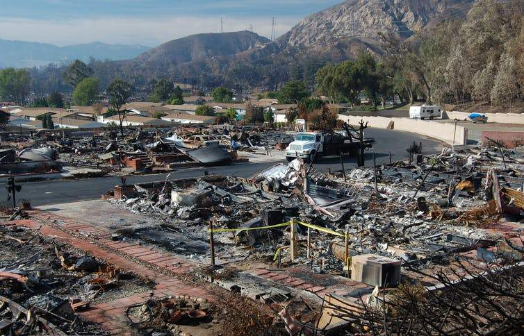 The remains of a mobile home park in Sylmar, California