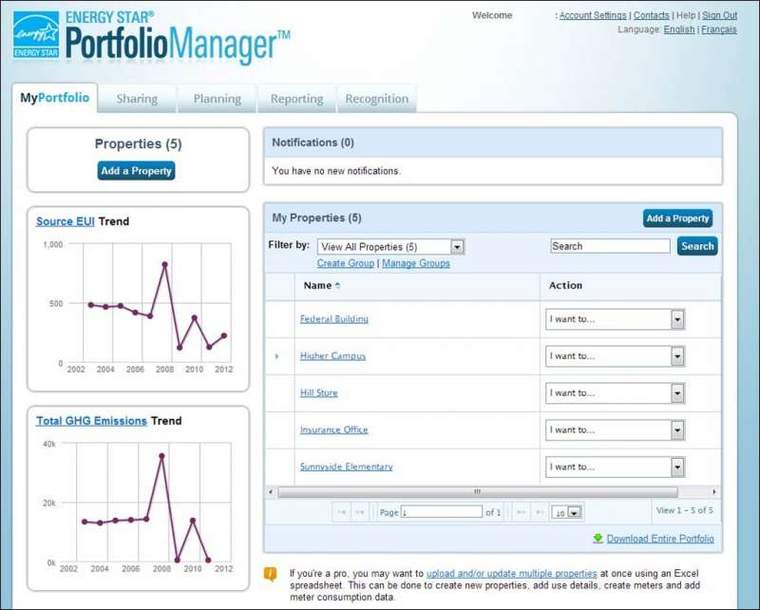 A snapshot of an earlier version of the Energy Star Portfolio Manager