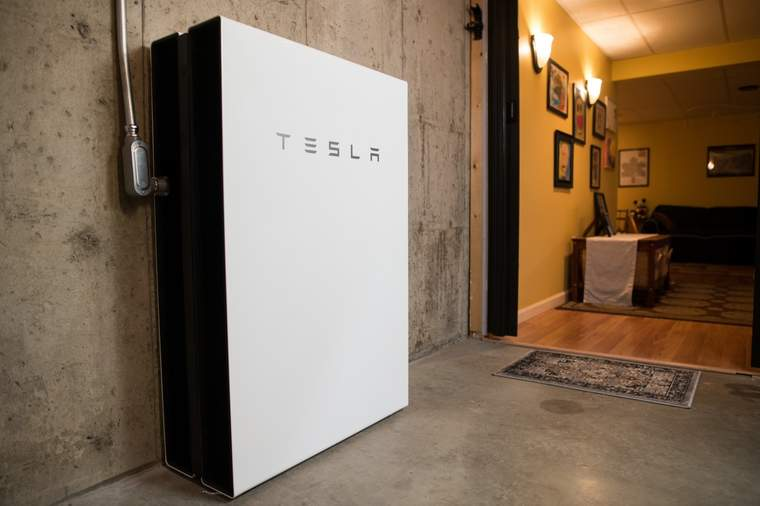 A Tesla Powerwall in a Colchester, VT home.