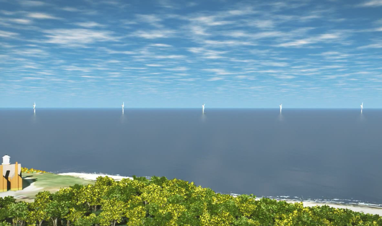 Block Island offshore wind farm rendering