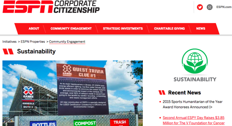Screenshot of ESPN's corporate citizenship page