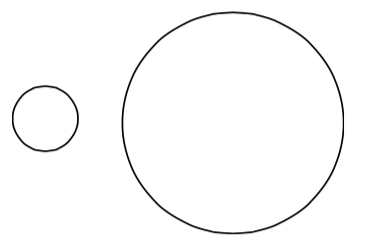 A small circle and a large circle
