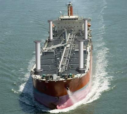 Small tanker with Norsepower Rotor Sails