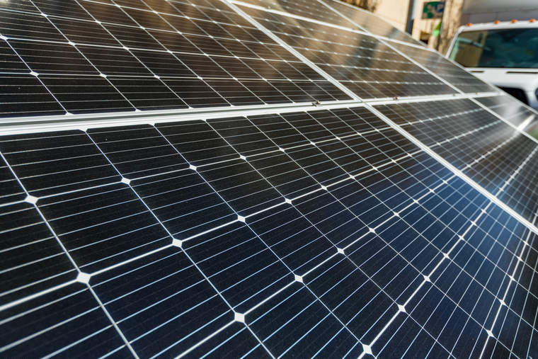 Solar panels in the microgrid that powered the main stage at GreenBiz's VERGE 19 event