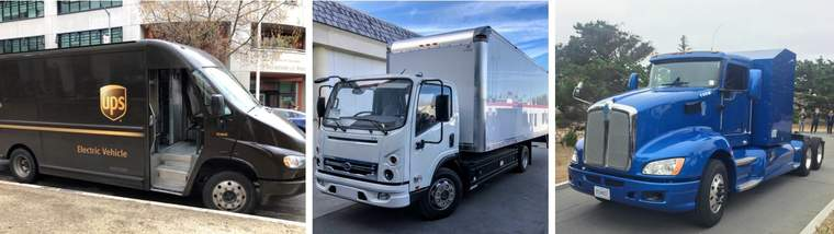 UPS electric delivery truck, BYD Class 6 electric box truck, Toyota Class 8 hydrogen fuel cell semi truck.