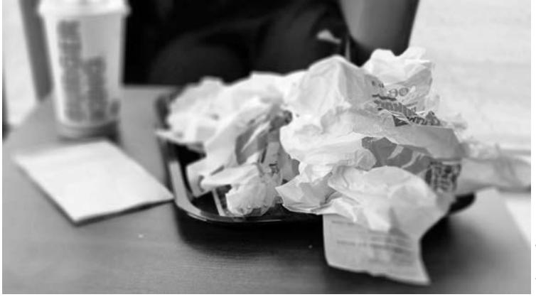 piece of trash on desk