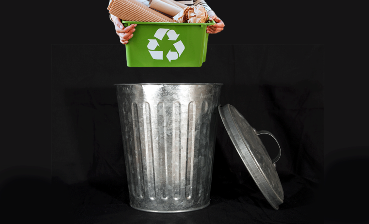 putting recycling in the trash