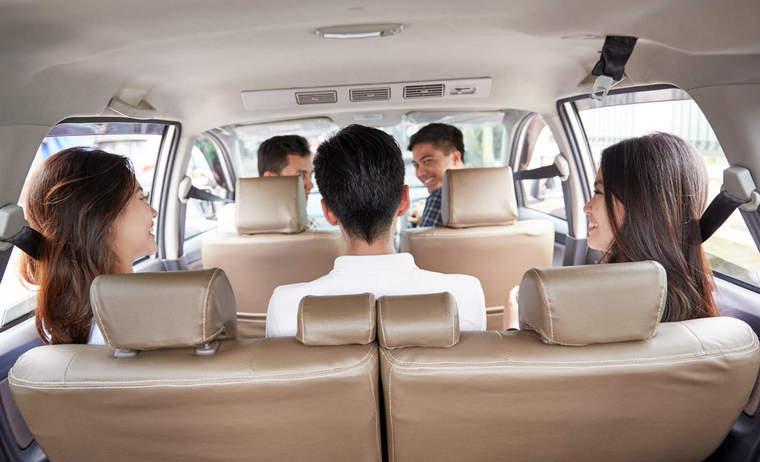Backseat of an uber