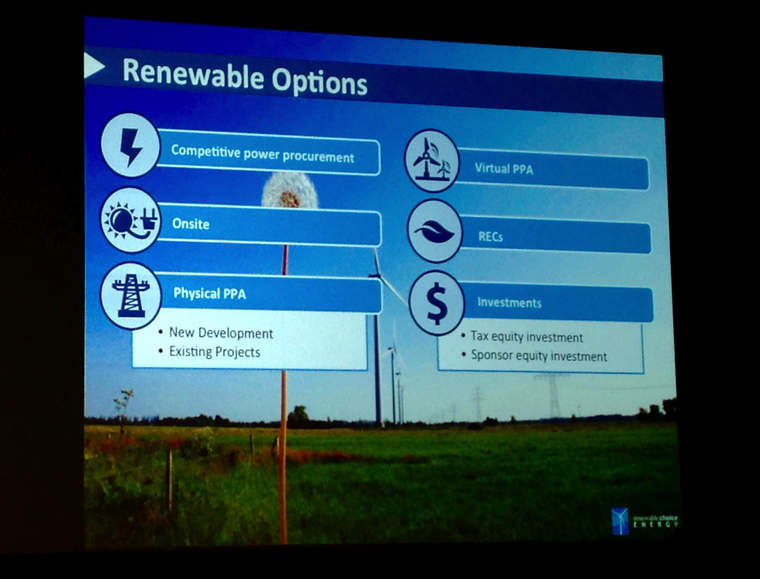 Facebook sustainability renewable energy purchase options