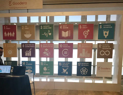 A display of the 17 SDGs by Cloudera at GreenBiz 18 in Phoenix, Arizona