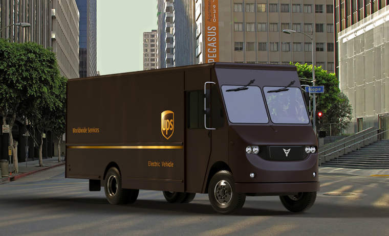 A rendering of a UPS Thor electric truck