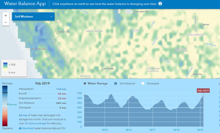 ArcGIS Water Balance app view of soil moisture in the western United States